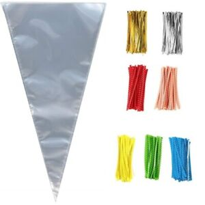 LARGE-CLEAR-CELLOPHANE-CONE-BAGS-FOOD-Favour-SWEET-CANDY-KIDS-Party-CONES