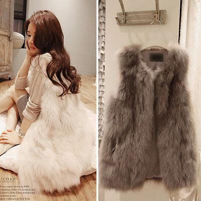 Noble Women Faux Fur Shaggy Vest Gilet Sleeveless Coat Outerwear Waistcoat Tops
