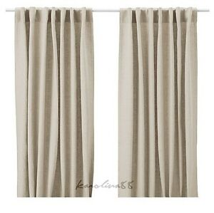 Ikea aina pair of curtains linen drapes beige tan new nip for Linen curtains ikea