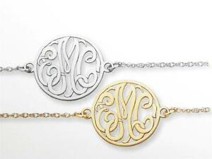 Spécial Ordre Solide 10kt Or 3 Lettre Initiale Monogramme Motif Bracelet à Charm