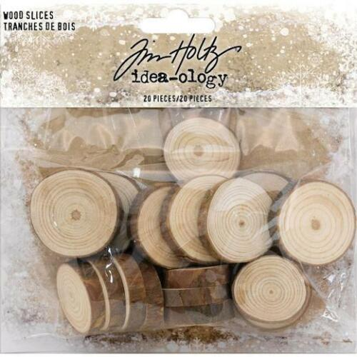 Tim Holtz Idea-Ology rebanadas de madera 20 un Natural Raw Edge TH93745
