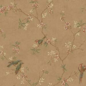 Wallpaper Traditional Floral Vine with Cute Birds on Warm Pearl Gold Background