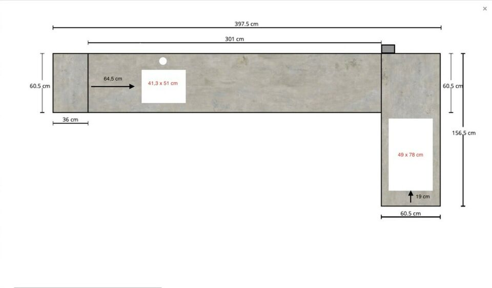 Bordplade, keramisk bordplade Beton Silk