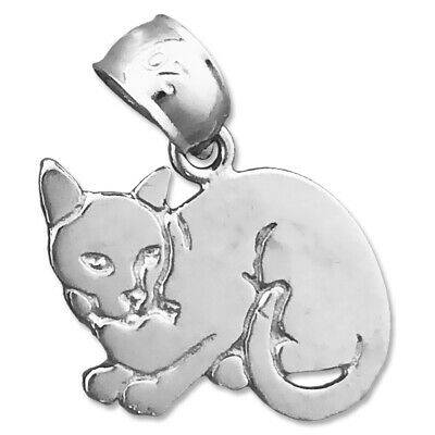 925 Sterling Silver Polished Cat Charm
