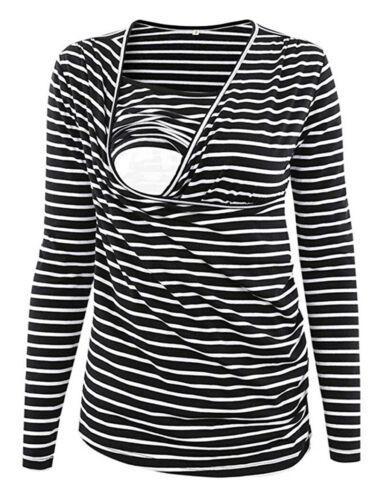 Women Striped Maternity Pajamas Long Sleeves Nursing Breastfeeding Casual Tops