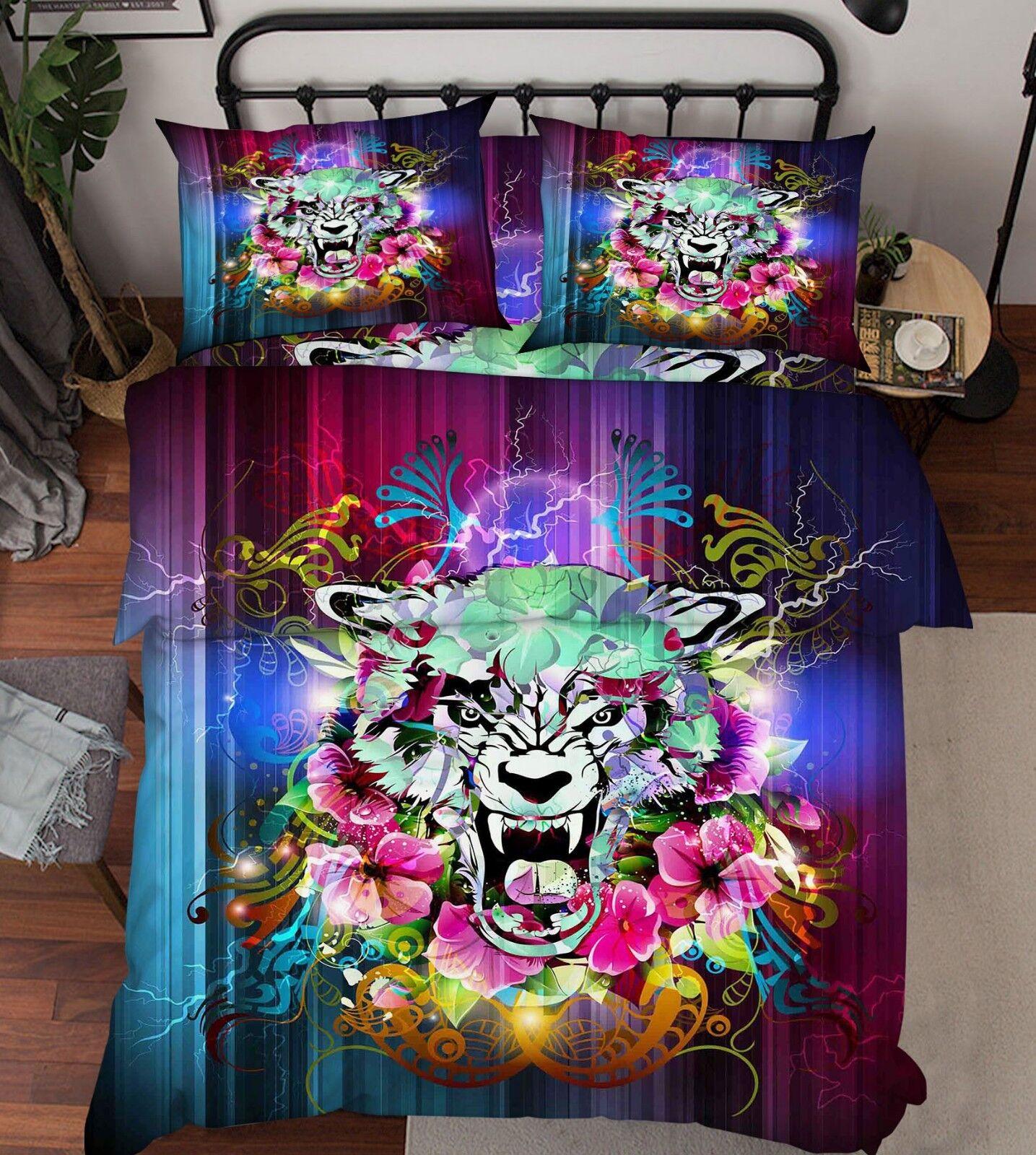 3D Tiger Pattern 686 Bett Pillowcases Quilt Duvet Startseite Set Single König UK Lemon