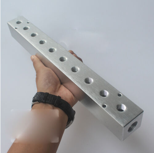 "G1//2/"" In G1//4/"" Out 2-10 Way Pneumatic Air Solid Aluminum Manifold Block Splitter"