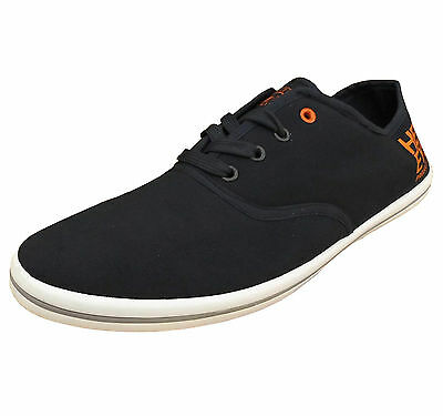 Henleys Men's Troy Canvas Fashion Shoes Trainers Pumps Plimsolls navy / orange