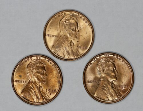 S LINCOLN WHEAT CENT PENNY 1C GEM BU BRILLIANT RED LOT OF 3 COINS 1936 P D