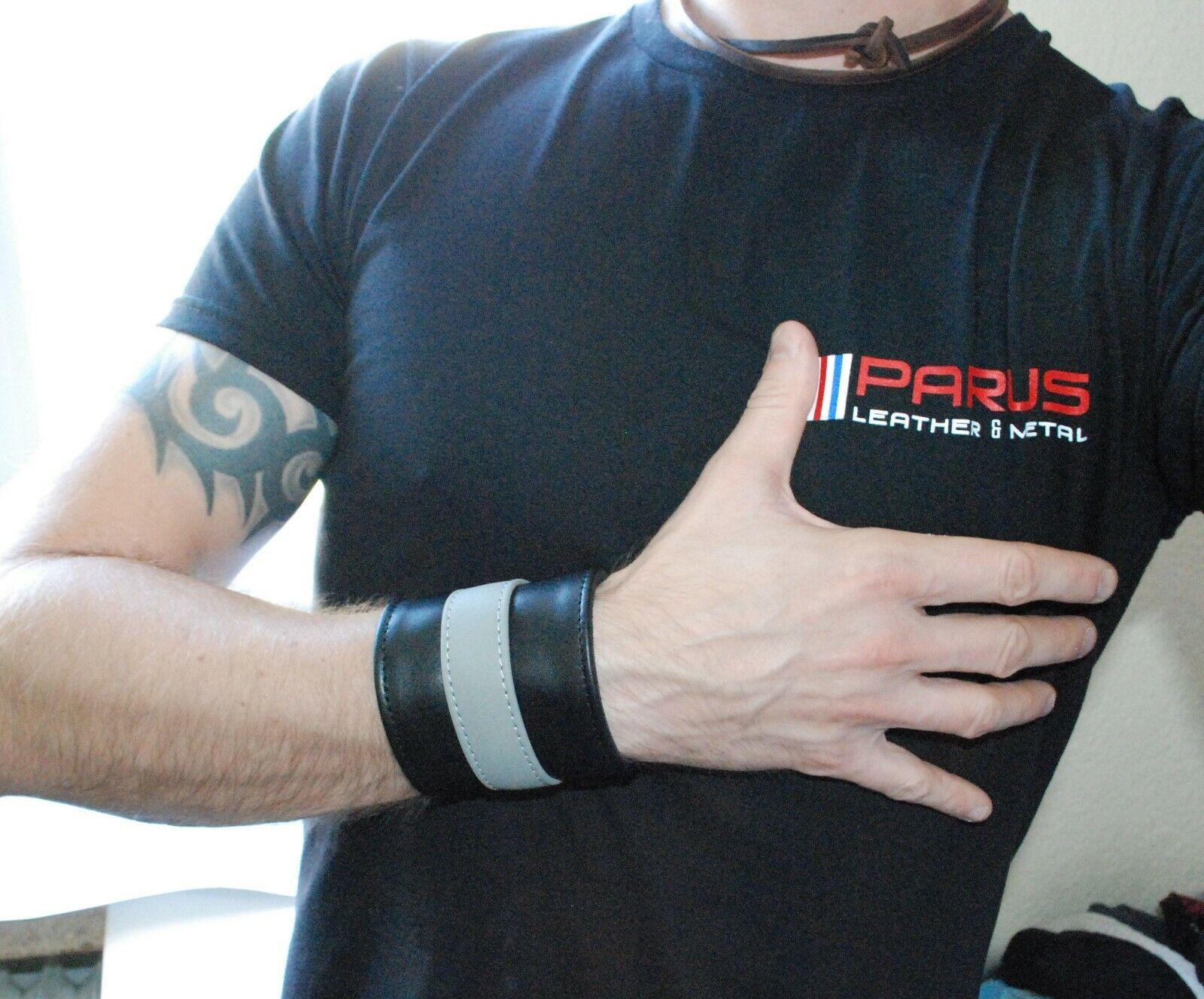 PARUS Ledearmband Geldbörse Armband Wrist wallet gay Breite  8 cm black-grey
