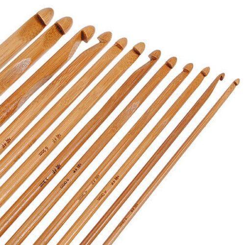 "12 Taille 6/"" Poignée en Bambou CROCHET TRICOT TISSAGE FIL Craft Knitting Needles set"