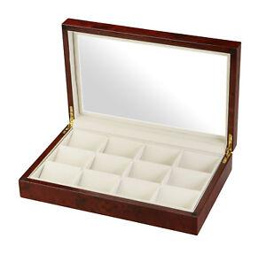 Diplomat-12-Pocket-Watch-Case-Burl-Wood-Glass-Top-Storage-Display-31-51014