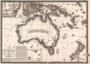 Map Of Australia Hd.Antique Map Of Australia Old Vintage 1826 Fade Resistant Hd Print