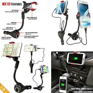 Auto-Car-Smartphone-Dual-USB-Charger-Port-with-Cigarette-Lighter-Power-Outlet