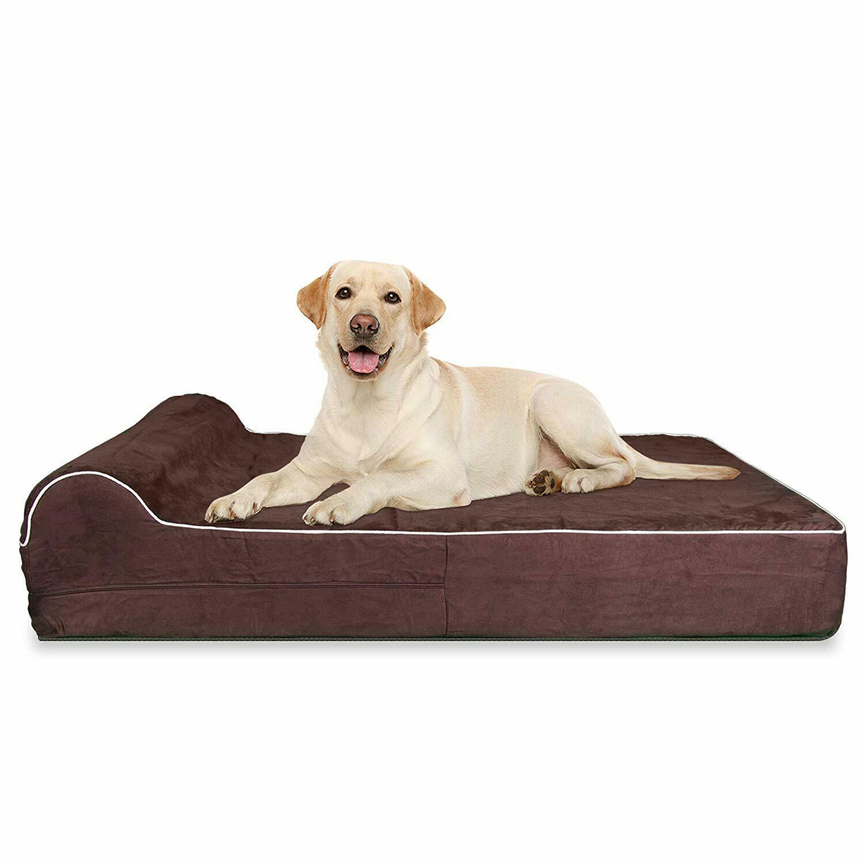 Extra großes Hundebett KOPEKS Visco Elastic Matratze und Brown XL Kissen