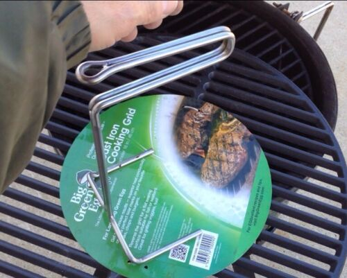 Stainless-Steel-Ott-Grid-Grill-Lifter-Tool-1-4-034-SS-Big-Green-Egg-Kamado-USA-Made