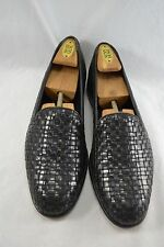 BRAGANO Italy black leather basket weave loafers size 11 EU 44 shoes