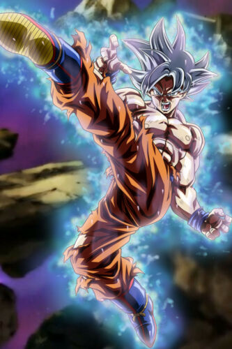 Dragon Ball Super Poster Goku Ultra Instinct Mastered Kicking 12in x 18in