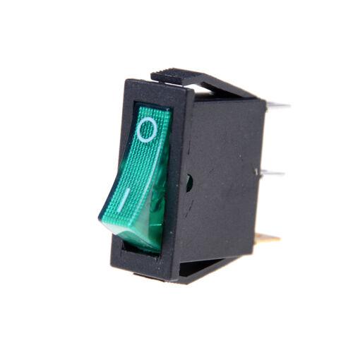 5X/lot GREEN LED Light 3 PIN SPST ON/OFF Boat Rocker Switch 16A/250V 20A/125V TO