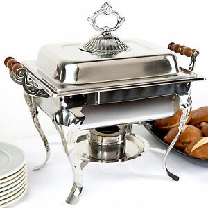 Catering-Classic-STAINLESS-STEEL-Chafer-Chafing-Dish-Set-4-QT-Buffet-Half