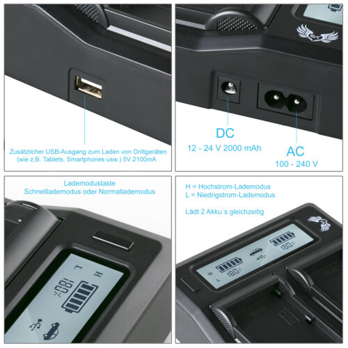 Dual Charger NP-F7501060386 90105 90302 SK Akku für Sony NP-F970 6600mAh