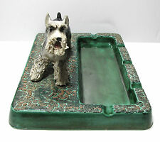 Vintage Spaghetti Dog Schnauzer Ceramic Ashtray Rosette Ceramics