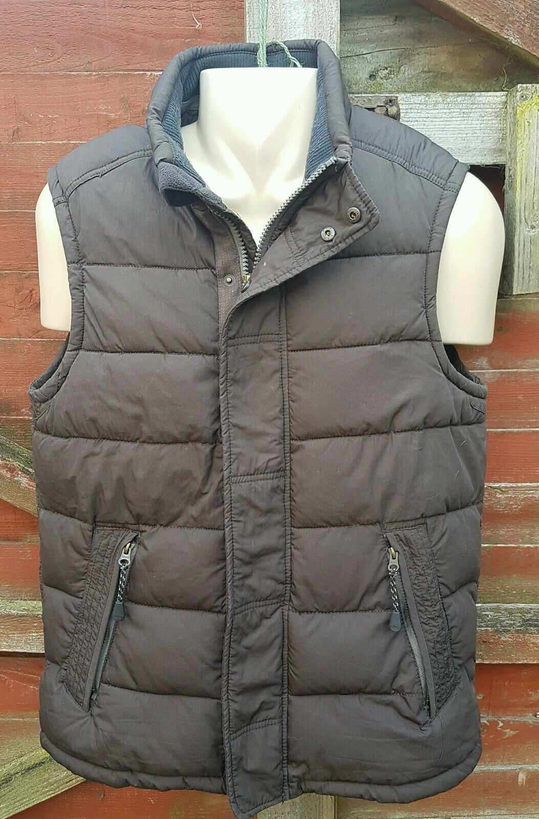 Fab FAT FACE Mens Brown Padded Gilet, Size M