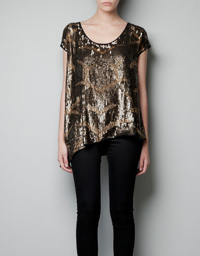 ZARA BNWT Gold TOP WITH SEQUINS WINTER SZ M (UNIQUE Größe) Ref. 7521 213 303