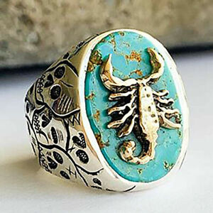 """925 SILVER FILLED (STAMPED) """" SCORPIAN """" BIRTHSTONE RING 2 TONE TURQUOISE CHUNKY"""