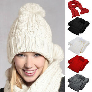 Ladies-Winter-Women-039-s-Wooly-Hat-And-Scarf-Set-Knitted-Beanie-Slouch-Ski-Cap