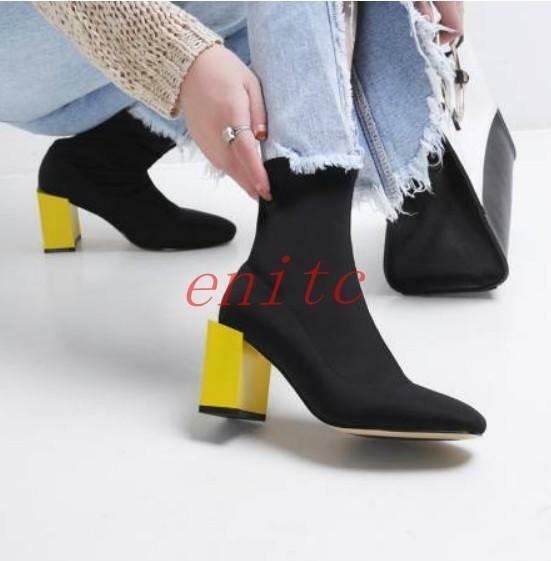 Korean Womens Strechy shoes Block heel Pull On Booties Ankle Boots Casual Size