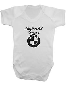 100/% algodón Mi abuelo conduce un BMW-Bebé Chaleco-Baby Romper-Baby Body