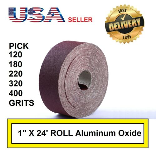 "1/"" x 24/' Emery Cloth Rolls 120 180 220 320 400 Grit Aluminum Oxide Pen Making"