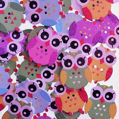 Lot de 10 Scrapbooking Couture Boutons en Bois Hibou Multicolore