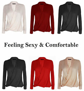 503378597c6 Womens Plus Size Chiffon Long Sleeve Casual Blouse Ladies OL Work T ...