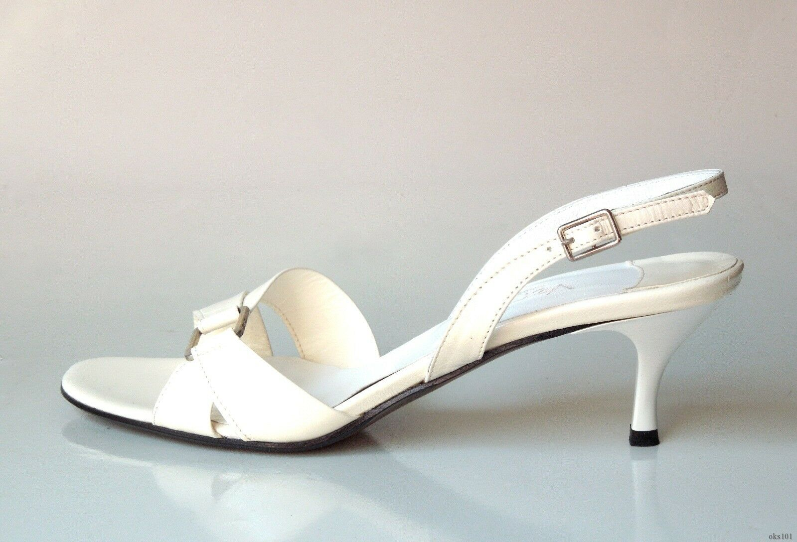 New Versani 922 ivory leather leather leather open-toe slingback sandals shoes made in  e2e381