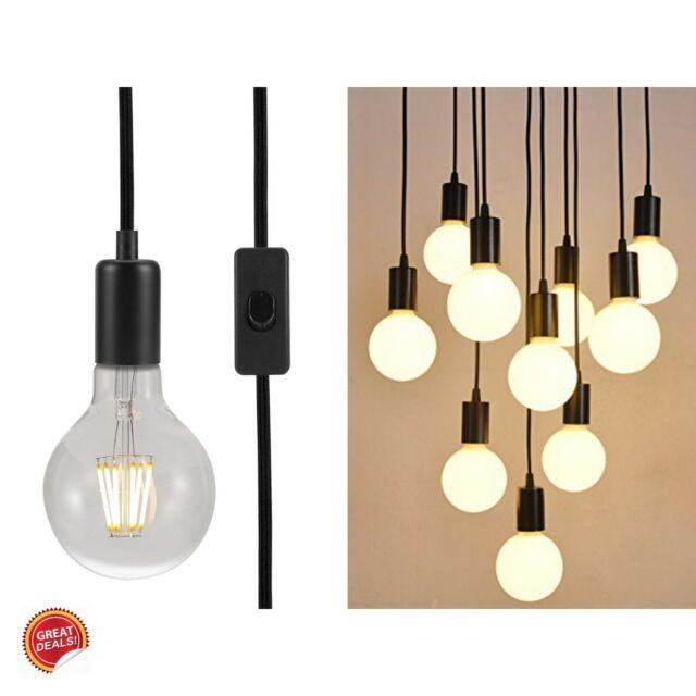 Hanging Lamp Plug In Pendant Light Antique Vintage Metal Swag Bulb Holder Decor