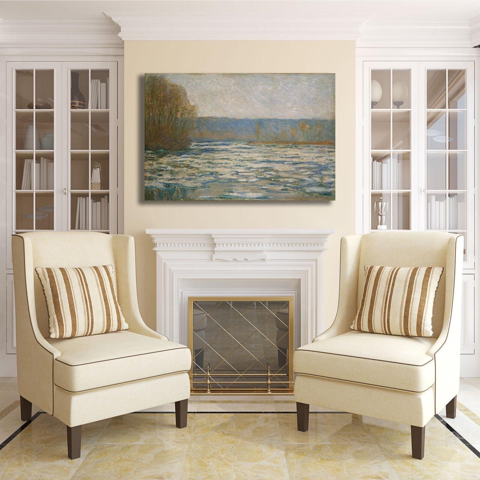 Monet ghiaccio sulla sulla ghiaccio Senna design quadro stampa tela dipinto telaio arRouge o casa 445728