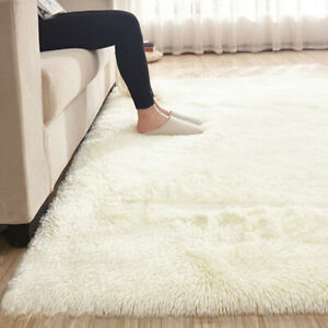 Details About 67x47u0027 Fluffy Rugs Anti Skid Shaggy Area Rug Dining Room  Bedroom Floor Mat White