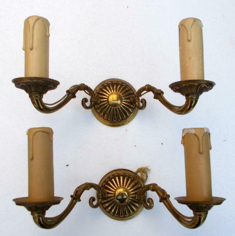 Pr Vintage French Bronze Wall Lights Candle Sconces
