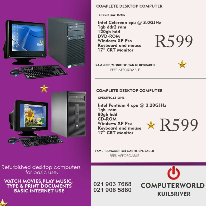 Complete pc and moniter combos for R599