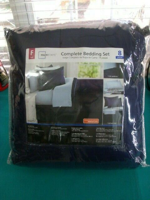Comforter Bedspread Bed in a Bag Navy Bedding Set Sheets Full 8Piece New