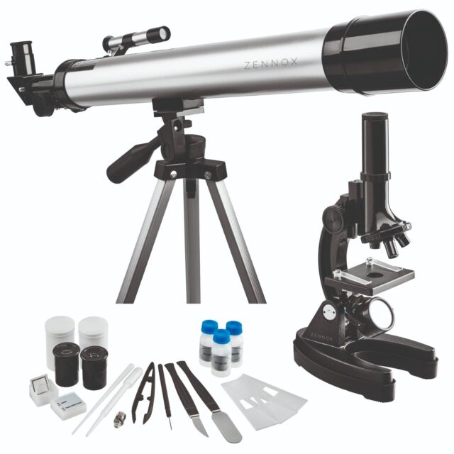 Refractor Telescope 60x129 900x Microscope Set With 17 Accessories Zennox