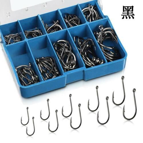 100pcs//Lot High Carbon Steel Fishing Hooks Sharpened Fishing Hook With Box US