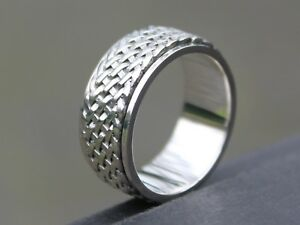 Men-039-s-Wide-Braided-925-Sterling-silver-Spinner-ring-9mm-band-Gift-for-him