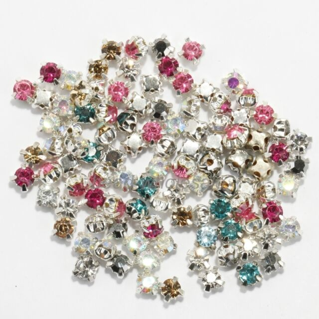 200pcs Rhinestone Beads Crystal Gemstone Clear Spacer For Jewelry Making 4mm NEW