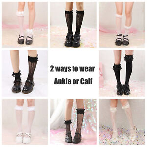 e3c8d455d5a Lolita Gothic Women Girl Sexy Black Lace Calf Ankle Knee Ruffle ...
