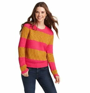 NWT-Ann-Taylor-Loft-Guava-Pink-Brown-Wide-Striped-Chunky-CrewNeck-Sweater-59-XS