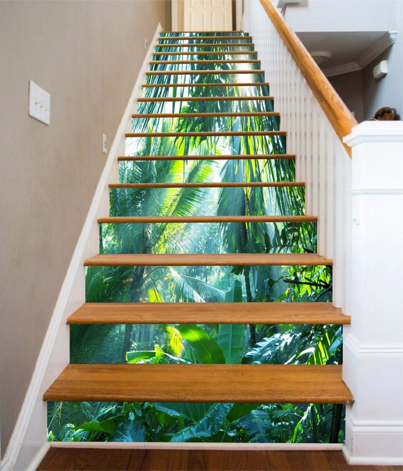 3D Green leaves Stair Risers Decoration Photo Mural Vinyl Decal Wallpaper AU