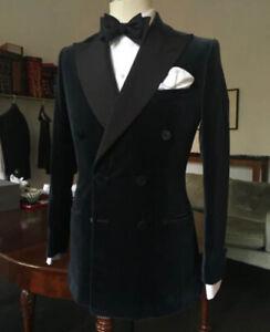 CoopéRative Homme Veste De Velours Manteaux Blazers Designer Noir Boutonnage Double Tuxedo Dîner-afficher Le Titre D'origine